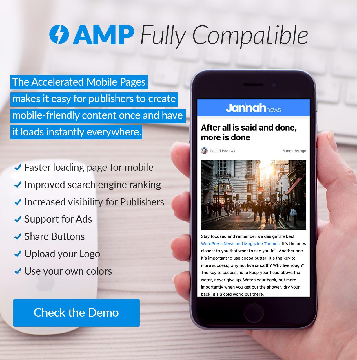 Полностью совместим с проектом «Ускоренные мобильные страницы» (AMP)