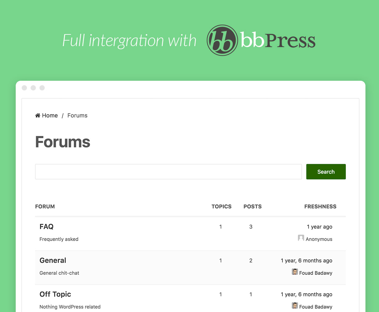 bbPress Integration