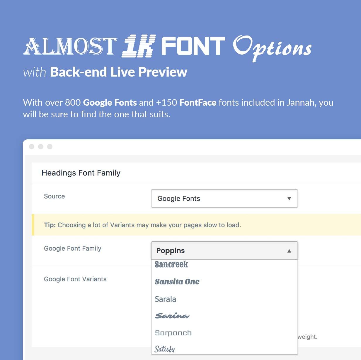 800 шрифтов Google и +150 шрифтов FontFace