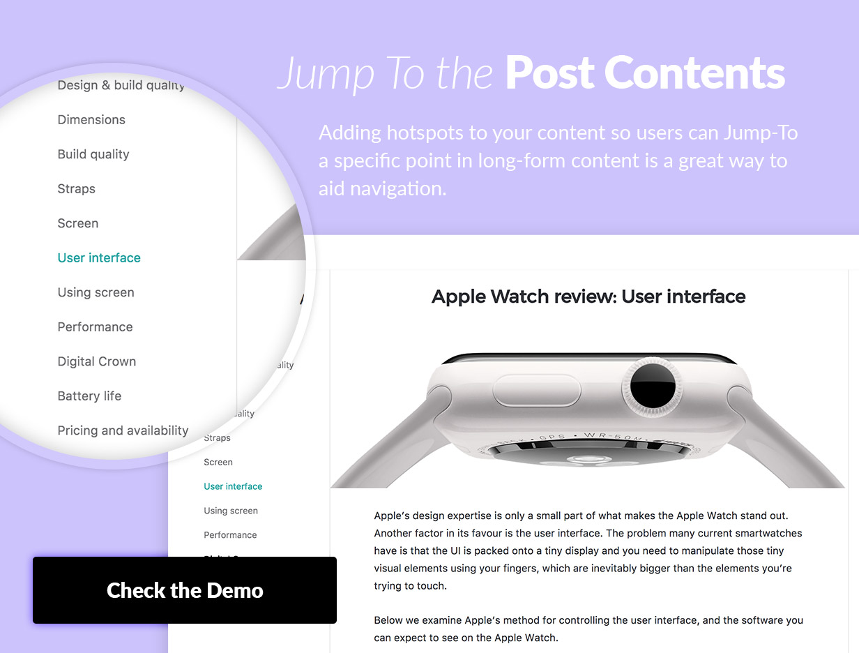 Adding hotspots to your content so users can Jump-To a specific point in long-form content is a great way to aid navigation.