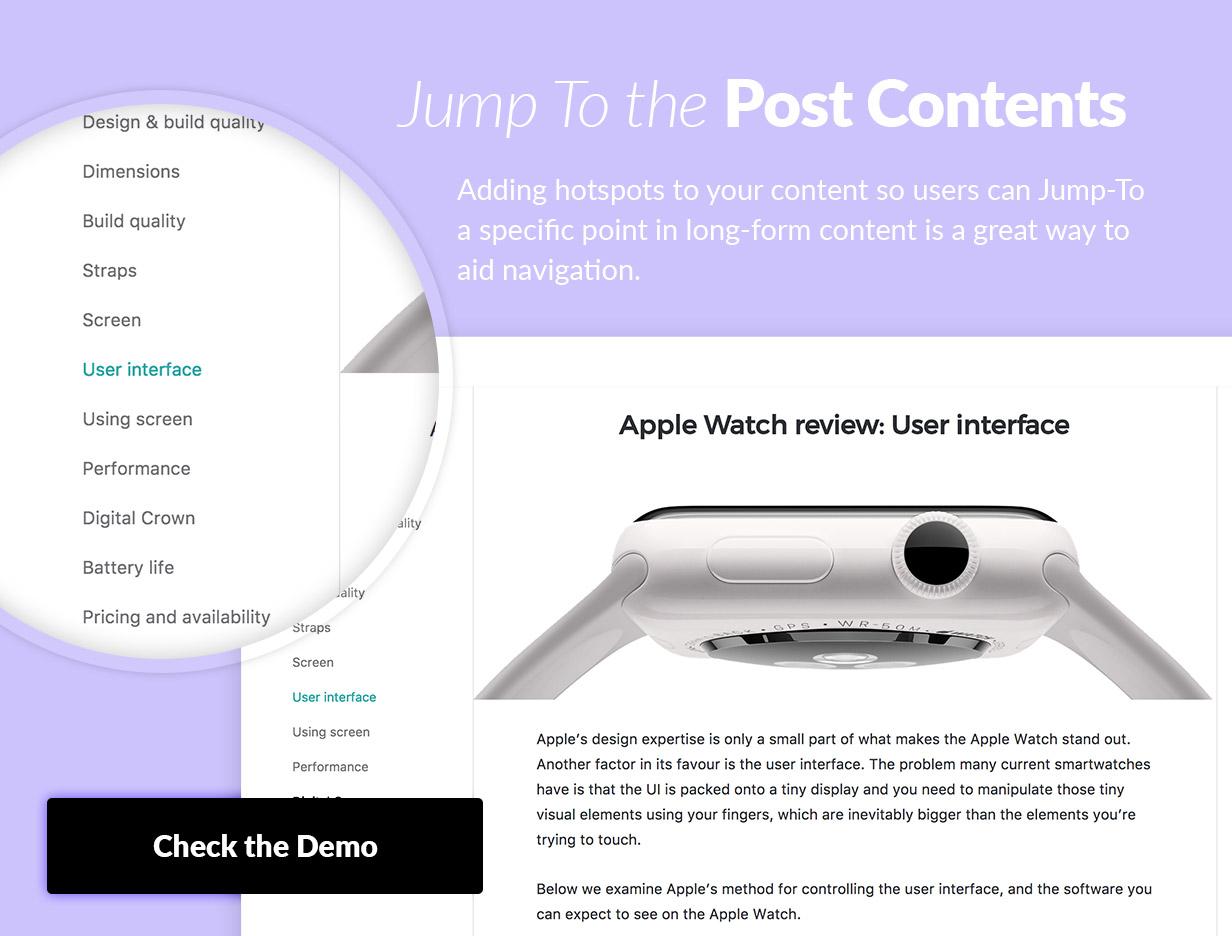 Добавление горячих точек к вашему контенту, чтобы пользователи могли переходить к определенной точке в длинном контенте, является отличным способом облегчить навигацию.